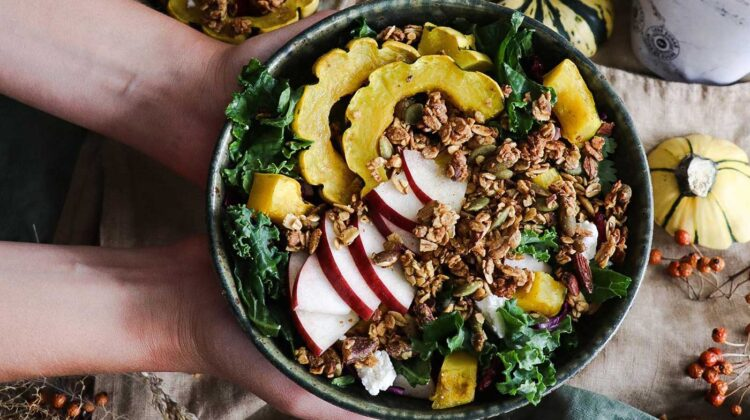Fall Salad with Delicata Squash, Apples and Muesli
