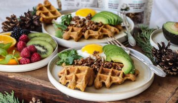 Sweet potato and muesli waffles