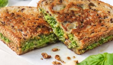 Grilled Cheese with Walnut Pesto, Dukkah & Cheddar