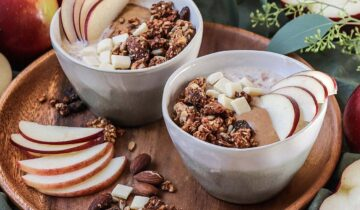 Apples Oatmeal with Gluten-Free Granola